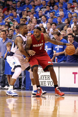 DALLAS, TX - JUNE 07:  LeBron James #6 of the Miami Heat drives against DeShawn Stevenson #92 of the Dallas Mavericks in Game Four of the 2011 NBA Finals at American Airlines Center on June 7, 2011 in Dallas, Texas. The Mavericks won 86-83. NOTE TO USER: