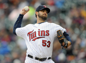 MINNEAPOLIS, MN - APRIL 28: Nick Blackburn #53 of the Minnesota Twins pitches against the Tampa Bay Rays during in the first inning of their game on April 28, 2011 at Target Field in Minneapolis, Minnesota. (Photo by Hannah Foslien/Getty Images)