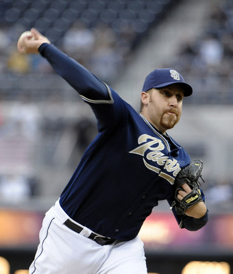 SAN DIEGO, CA - JUNE 9:  Aaron Harang #41 of the San Diego Padres pitches during the first inning of a baseball game Washington Nationals at Petco Park on June 9, 2011 in San Diego, California.  (Photo by Denis Poroy/Getty Images)