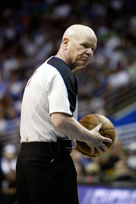 ORLANDO, FL - MAY 26:  Referee Joey Crawford looks on during Game Five of the Eastern Conference Finals between the Orlando Magic and the Boston Celtics during the 2010 NBA Playoffs at Amway Arena on May 26, 2010 in Orlando, Florida. The Magic won 113-92.