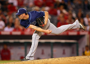 ANAHEIM, CA - JUNE 06:  Kyle Farnsworth #43 of the Tampa Bay Rays pitches in relief in the ninth inning against the Los Angeles Angels of Anaheim during their MLB game at Angel Stadium of Anaheim on June 6, 2011 in Anaheim, California. The Rays defeated t
