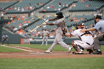 BALTIMORE, MD - JUNE 07: Jemile Weeks #19 of the Oakland Athletics at the plate against the Baltimore Orioles at Oriole Park at Camden Yards on June 7, 2011 in Baltimore, Maryland.  (Photo by Rob Carr/Getty Images)