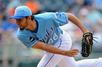 KANSAS CITY, MO - JUNE 9:  Joakim Soria #48 of the Kansas City Royals throws a pitch in the ninth inning against the Toronto Blue Jays at Kauffman Stadium on June 9, 2011 in Kansas City, Missouri. The Royals defeated the Blue Jays 3-2. (Photo by G. Newman
