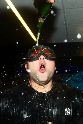 Is that Batman? Nope, it is Joba, celebrating the Yankees 2009 World Series championship