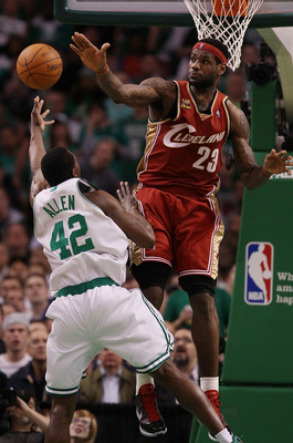 BOSTON - MAY 13:  LeBron James #23 of the Cleveland Cavaliers tries to block a shot by Tony Allen #42 of the Boston Celtics during Game Six of the Eastern Conference Semifinals of the 2010 NBA playoffs at TD Garden on May 13, 2010 in Boston, Massachusetts