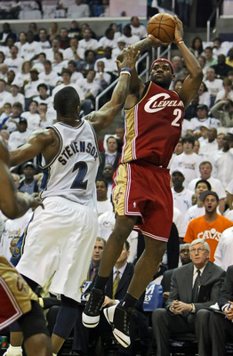 WASHINGTON - APRIL 27: LeBron James #23 of the Cleveland Cavaliers puts up a jump shot over DeShawn Stevenson #2 of the Washington Wizards in Game Four of the Eastern Conference Quarterfinals during the 2008 NBA Playoffs at the Verizon Center on April 27,