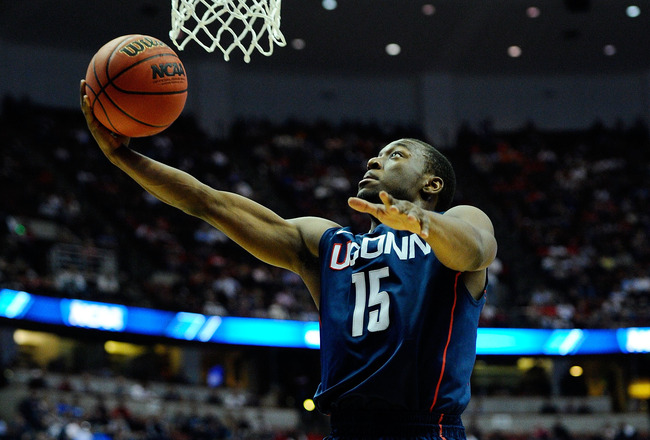 ANAHEIM, CA - MARCH 24:  Kemba Walker #15 of the Connecticut Huskies drives to the basket against the San Diego State Aztecs during the west regional semifinal of the 2011 NCAA men's basketball tournament at the Honda Center on March 24, 2011 in Anaheim,