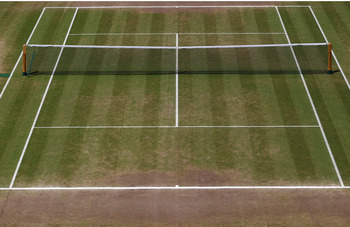 LONDON, ENGLAND - JULY 04:  (EDITORS NOTE: THIS IS A COMPOSITE IMAGE) Top image shows Centre Court on Day One and the bottom image shows Centre Court on the final day of the Wimbledon Lawn Tennis Championships at the All England Lawn Tennis and Croquet Cl