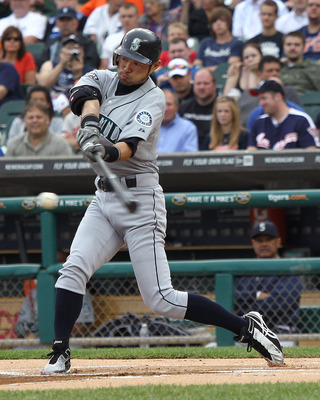 DETROIT, MI - JUNE 09: Ichiro Suzuki #51 of the Seattle Mariners hits the ball during a MLB game against the Detroit Tigers at Comerica Park on June 9, 2011 in Detroit, Michigan.  (Photo by Dave Reginek/Getty Images)