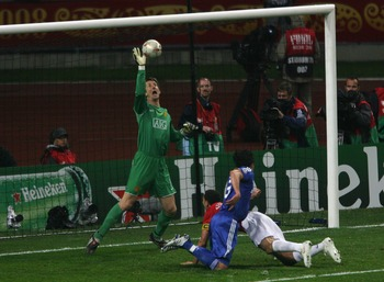 MOSCOW - MAY 21:  Edwin Van der Sar of Manchester United saves the attempt on goal by Michael Ballack of Chelsea during the UEFA Champions League Final match between Manchester United and Chelsea at the Luzhniki Stadium on May 21, 2008 in Moscow, Russia.