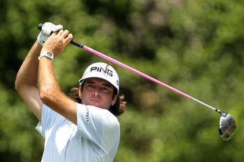 PONTE VEDRA BEACH, FL - MAY 13:  Bubba Watson hits his tee shot on the second hole during the second round of THE PLAYERS Championship held at THE PLAYERS Stadium course at TPC Sawgrass on May 13, 2011 in Ponte Vedra Beach, Florida.  (Photo by Mike Ehrman