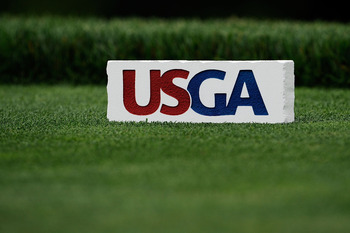 FARMINGDALE, NY - JUNE 16:  A USGA tee marker is seen during the second day of previews to the 109th U.S. Open on the Black Course at Bethpage State Park on June 16, 2009 in Farmingdale, New York.  (Photo by Sam Greenwood/Getty Images)