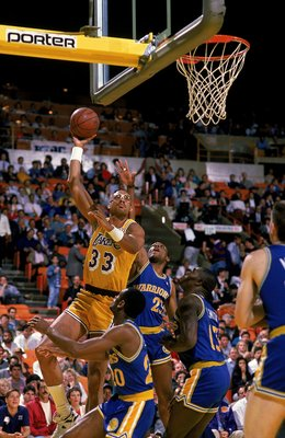 1989: Kareem Abdul -Jabbar #33of the Los Angeles Lakers makes a layup during a game against the Golden State Warriors at the Great Western Forum in Los Angeles, California.  Mandatory Credit: Allsport USA  /Allsport