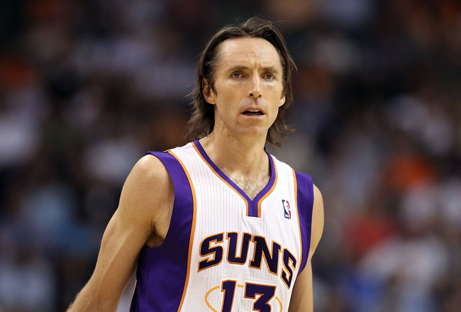 PHOENIX, AZ - APRIL 13:  Steve Nash #13 of the Phoenix Suns during the NBA game against the San Antonio Spurs at US Airways Center on April 13, 2011 in Phoenix, Arizona.  NOTE TO USER: User expressly acknowledges and agrees that, by downloading and or usi