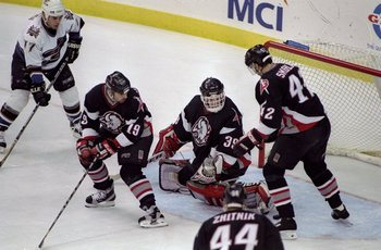 2 Jun 1998: Dominik Hasek #39 of the Buffalo Sabres in action during an Eastern Conference Playoff game against the Washington Capitals at the MCI Center in Washington D.C.. The Sabres defeated the Capitals 2-1.