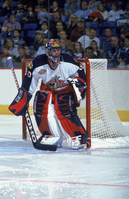 22 Sep 2001:  Goaltender Marc Denis #30 of the Columbus Blue Jackets crouches in goal during the NHL game against the Buffalo Sabres at HSBC Arena in Buffalo, New York.  The Sabres edged the Blue Jackets 4-3.  \ Mandatory copyright notice: Copyright 2001