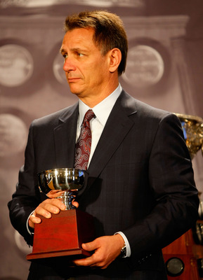 PITTSBURGH - MAY 28:  General Manager Ken Holland of the Detroit Red Wings accepts the William M. Jennings Trophy for Chris Osgood (not pictured) during the NHL Awards presentation at the Omni William Penn Hotel on May 28, 2008 in Pittsburgh, Pennsylvania