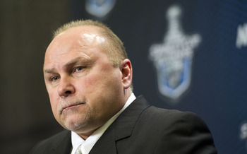 VANCOUVER, CANADA - MAY 7: Head Coach Barry Trotz of the Nashville Predators listens to a questions during a press conference after Game Five of the Western Conference Semifinals against the Vancouver Canucks during the 2011 NHL Stanley Cup Playoffs on Ma