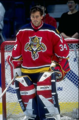 11 Jan 1997:  John Vanbiesbrouck #34 of the Florida Panthers in action during a game against the Calgary Flames at the Canadien Airlines Saddledome in Calgary, Canada. Mandatory Credit: Ian Tomlinson  /Allsport