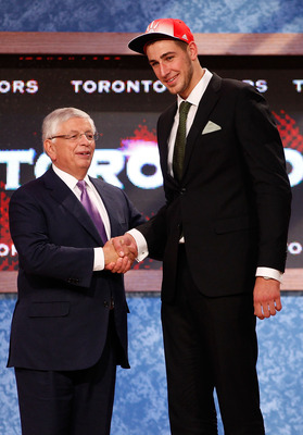 NEWARK, NJ - JUNE 23:  Jonas Valanciunas (R) from Utena, Lithuania greets NBA Commissioner David Stern after he was picked #5 overall by the Toronto Raptors in the first round during the 2011 NBA Draft at the Prudential Center on June 23, 2011 in Newark,