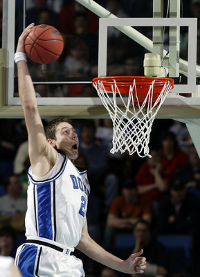 BUFFALO, NY - MARCH 15:  Josh McRoberts #2 of the Duke Blue Devils dunks against the Virginia Commonwealth Rams during round one of the NCAA Men's Basketball Tournament at the HSBC Arena on March 15, 2007  in Buffalo, New York.  (Photo by Rick Stewart/Get