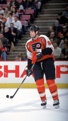 15 Feb 2000: Eric Lindros #88 of the Philadelphia Flyers skates on the ice during a game against the  New Jersey Devils at the Continental Airlines Arena in East Rutherford, New Jersey. The Devils defeated the Flyers 4-2. Mandatory Credit: David Leeds  /A