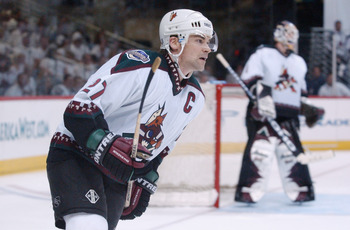 24 Apr 2002:  Teppo Numminen #27 of the Phoenix Coyotes looks on against the San Jose Sharks during game four of the Stanley Cup playoffs at America West Arena in Phoenix, Arizona. The Sharks won 2-1. DIGITAL IMAGE. Mandatory Credit: Harry How/Getty Image