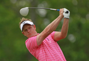 DUBLIN, OH - JUNE 03:  Luke Donald of England hits his tee shot on the first hole during the second round of the Memorial Tournament presented by Nationwide Insurance at the Muirfield Village Golf Club on June 3, 2011 in Dublin, Ohio.  (Photo by Scott Hal