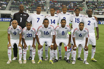 ARLINGTON, TX - JUNE 05:  Cuban national team starting eleven prior to the CONCACAF Gold Cup qualifying match against Costa Rica at Cowboys Stadium on June 5, 2011 in Arlington, Texas.  (Photo by Rick Yeatts/Getty Images)