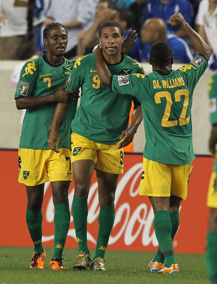 HARRISON, NJ - JUNE 13:  Ryan Johnson #9 of Jamaica celebrates a goal against Honduras during the Concaf Gold Cup at Red Bull Arena on June 13, 2011 in Harrison, New Jersey.  (Photo by Al Bello/Getty Images)