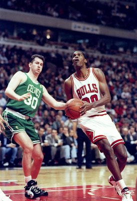 1 Apr 1997:  Center Robert Parish of the Chicago Bulls (right) in action against Harry Conlon of the Boston Celtics during a game at the United Center in Chicago, Illinois.  The Bulls won the game 111-106. Mandatory Credit: Jonathan Daniel  /Allsport