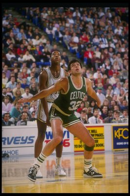 Forward Kevin McHale of the Boston Celtics watches the ball during a game.