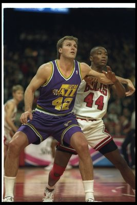 2 Dec 1996: Tom Chambers of the Utah Jazz looks on during a game against the Chicago Bulls at the United Center in Chicago, Illinois. The Bulls won the game, 107-91.