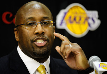 EL SEGUNDO, CA - MAY 31:  Mike Brown, the new head coach for the Los Angeles Lakers, speaks during his introductory news conference at the team's training facility on May 31, 2011 in El Segundo, California. Brown replaces Lakers coach Phil Jackson, who re