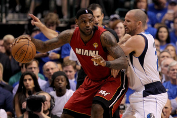 DALLAS, TX - JUNE 07:  LeBron James #6 of the Miami Heat backs down Jason Kidd #2 of the Dallas Mavericks in Game Four of the 2011 NBA Finals at American Airlines Center on June 7, 2011 in Dallas, Texas. NOTE TO USER: User expressly acknowledges and agree