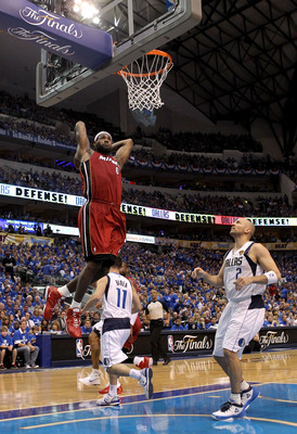 DALLAS, TX - JUNE 05:  LeBron James #6 of the Miami Heat goes up for a dunk in front of Jason Kidd #2 of the Dallas Mavericks in the second half of Game Three of the 2011 NBA Finals at American Airlines Center on June 5, 2011 in Dallas, Texas.  NOTE TO US