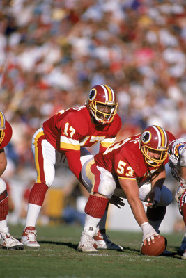 TEMPE, AZ - DECEMBER 3:  Quarterback Doug Williams #17 of the Washington Redskins calls a play at the line of Scrimmage against the Arizona Cardinals during a game at Sun Devil Stadium on December 3, 1989 in Tempe, Arizona.  The Redskins won 29-10.   (Pho