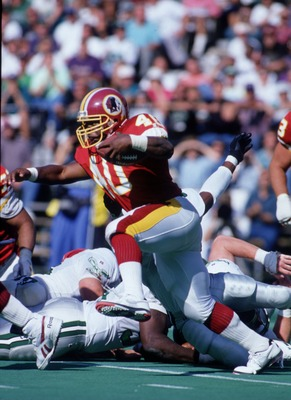 19 Sep 1993: Running back Reggie Brooks carries the football during the Redskins 34-31 loss to the Philadelphia Eagles at RFK Stadium in Washington, D.C.