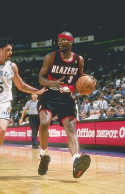 8 Apr 1997: Forward Clifford Robinson of the Portland Trailblazers dribbles the ball down the court during a game against the Dallas Mavericks at Reunion Arena in Dallas, Texas. The Mavericks won the game 87-82.