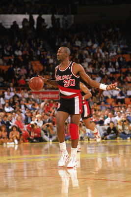 LOS ANGELES - 1990:  Terry Porter #30 of the Portland Trail Blazers moves the ball against the Los Angeles Lakers during the 1989-1990 NBA season game at the Great Western Forum in Los Angeles, California.  (Photo by Mike Powell/Getty Images)