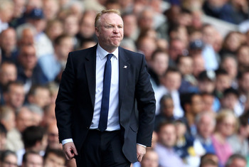 LONDON, ENGLAND - MAY 22:  Alex McLeish, manager of Birmingham City shows his frustration during the Barclays Premier League match between Tottenham Hotspur and Birmingham City at White Hart Lane on May 22, 2011 in London, England.  (Photo by Julian Finne