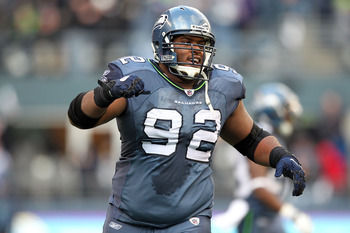SEATTLE, WA - JANUARY 08:  Defensive tackle Brandon Mebane #92 of the Seattle Seahawks reacts in the second quarter against the New Orleans Saints during the 2011 NFC wild-card playoff game at Qwest Field on January 8, 2011 in Seattle, Washington.  (Photo