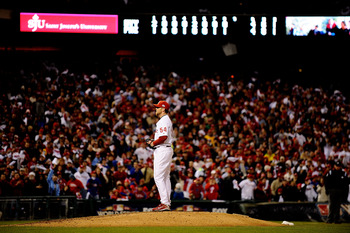 PHILADELPHIA - NOVEMBER 01:  Brad Lidge #54 of the Philadelphia Phillies stands on the mound in the top of the ninth inning against the New York Yankees in Game Four of the 2009 MLB World Series at Citizens Bank Park on November 1, 2009 in Philadelphia, P