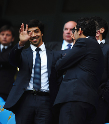 MANCHESTER, ENGLAND - AUGUST 23:  Manchester City owner Sheik Mansour looks on during the Barclays Premier League match between Manchester City and Liverpool at City of Manchester Stadium on August 23, 2010 in Manchester, England.  (Photo by Laurence Grif