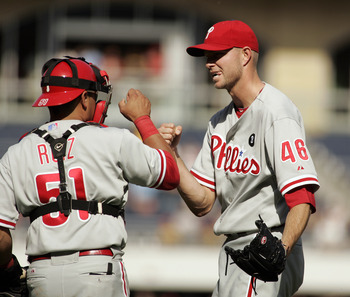 PITTSBURGH, PA - JUNE 05:  Ryan Madson #46 and Carlos Ruiz #51 of the Philadelphia Phillies celebrate the win over the Pittsburgh Pirates  on June 5, 2011 at PNC Park in Pittsburgh, Pennsylvania.  Phillies defeated the Pirates 7-3.  (Photo by Justin K. Al