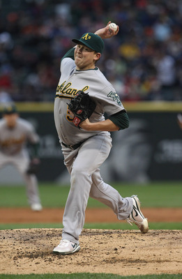 CHICAGO, IL - JUNE 09:  Starting pitcher Trevor Cahill #53 of the Oakland Athletics delivers the ball against the Chicago White Sox at U.S. Cellular Field on June 9, 2011 in Chicago, Illinois.  (Photo by Jonathan Daniel/Getty Images)