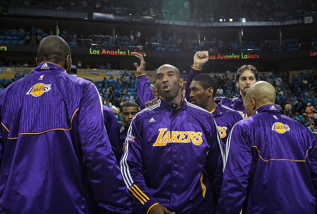 NEW ORLEANS, LA - APRIL 28:  Kobe Bryant #24 of the Los Angeles Lakers is introduced before a game against the New Orleans Hornets in Game Six of the Western Conference Quarterfinals in the 2011 NBA Playoffs on April 28, 2011 at New Orleans Arena in New O