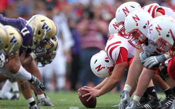 SEATTLE - SEPTEMBER 18: Long snapper P.J. Mangieri #92 of the Nebraska Cornhuskers prepares to snap the ball against the Washington Huskies on September 18, 2010 at Husky Stadium in Seattle, Washington. (Photo by Otto Greule Jr/Getty Images)