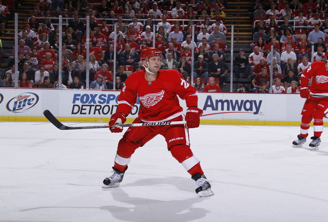 DETROIT - MAY 6: Brian Rafalski #28 of the Detroit Red Wings skates against the San Jose Sharks in Game Four of the Western Conference Semifinals during the 2011 NHL Stanley Cup Playoffs on May 6, 2011 at Joe Louis Arena in Detroit, Michigan. (Photo by Gr