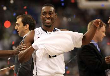 HOUSTON, TX - APRIL 04:  Kemba Walker #15 of the Connecticut Huskies react after defeating the Butler Bulldogs to win the National Championship Game of the 2011 NCAA Division I Men's Basketball Tournament by a score of 53-41 at Reliant Stadium on April 4,